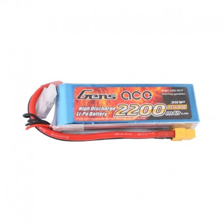 Batterie Lipo rechargeable GENS ACE 2200 mAh 3S1P 45C accumulateur