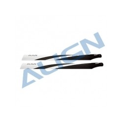Pales fibre de carbone 520mm (noir/blanc) hélico rc electrique Align T-Rex 550 (HD520C)