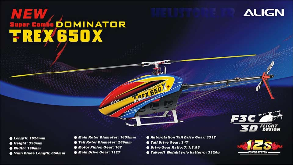 hélicoptère radiocommandé Align T-Rex 650X